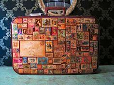 Estampilla valija viajar recorrer