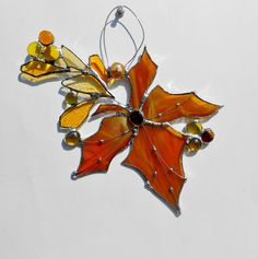 Stained Glass Suncatcher. Amber Maple Leaf. by jacquiesummer, $28.00