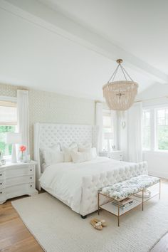 Photography: Blush Wedding Photography - blushweddingphotography.com Read More on SMP: http://www.stylemepretty.com/living/2016/07/28/the-dreamiest-white-bedroom-you-will-ever-meet/