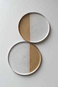 Ceramic speckle dinner plates - set of 2 - handmade modern pottery