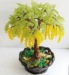 """Купить Дерево из бисера """"Акация"""" - желтый, бонсай, дерево, деревья, деревья из бисера"""