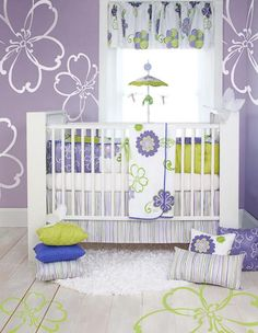Sweet Potato Lulu Baby Bedding by Glenna Jean I like the purple and lime green :-)