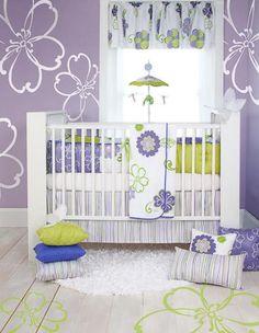 Sweet Potato Lulu Baby Bedding by Glenna Jean I like the purple and lime green :-)