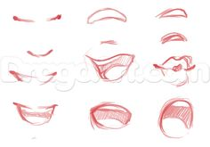 33 Ideas For Drawing Lips Cartoon Mouths Anime Face Drawing, Smile Drawing, Girl Face Drawing, Drawing Faces, Female Face Drawing, Anime Face Shapes, Nose Drawing, Lips Cartoon, Cartoon Mouths
