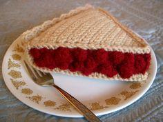 Free Pattern -- Crochet Cherry Pie Slice - CROCHET