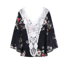 Lace Trim Floral Flare Sleeve Blouse Black (60 RON) ❤ liked on Polyvore featuring tops, blouses, bell sleeve tops, flared sleeve blouse, floral print blouse, floral print tops and flared sleeve top