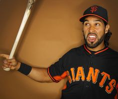 San Francisco Giants outfielder Angel Pagan poses for a portrait.