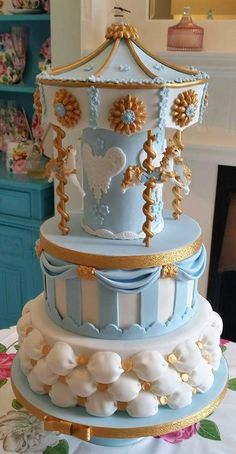 Two tier carousel cake for extra fancy birthdays