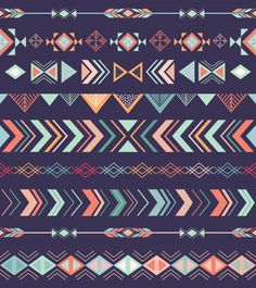 Aztec Tribal Seamless Pattern With Geometric Elements Aztec Tribal Patterns, Aztec Designs, Tribal Prints, Arrow Pattern, Pattern Art, Print Patterns, Aztec Pattern Wallpaper, Geometric Shapes Design, Boarders And Frames