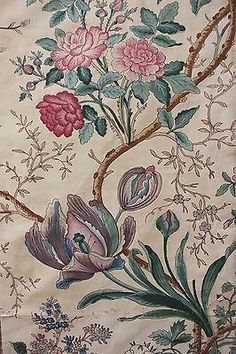 Antique French printed chintz fabric Indienne 19th material Arborescent c 1830