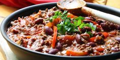 This hot, flavorful chili is so tasty, even meat eaters will love this recipe. Total Time: 35 min. Prep Time: 15 min. Cooking Time: 20 min. Yield: 10 servi