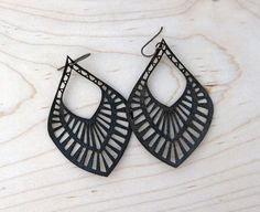 Big Mama Lasercut Leather Earrings Black by CurareSweets on Etsy, $28.00