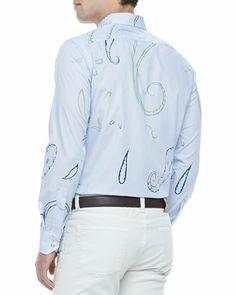 Etro Large Paisley Sport Shirt, Blue and Green Plaid Blazer & Five-Pocket Stretch Denim Jeans - Bergdorf Goodman