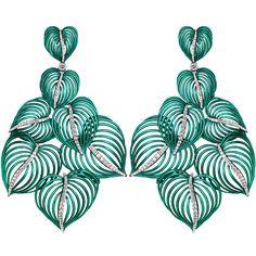 Las Palmas Earrings made of 18K White Gold with 6.73ct Pave Set White Diamonds (214 Stones), 20.4 Grams Green Nano Ceramic Avional. By Jacob & Co.