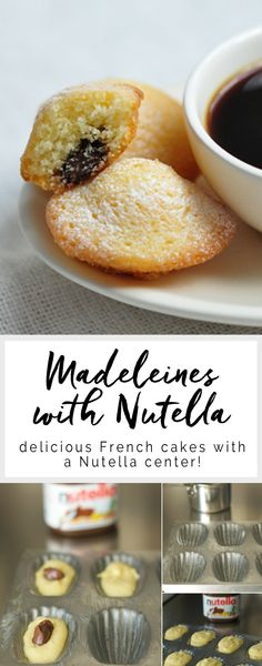 - Easy and delicious Madeleines with Nutella. This is a classic French madeleine recipe with tips on how to make madeleines perfectly every time. Desserts Nutella, Easy Desserts, Dessert Recipes, Recipes With Nutella, Nutella Brownies, Nutella Cookies, Gourmet Desserts, Plated Desserts, Biscuits