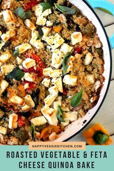 This easy, healthy quinoa casserole is bursting with Mediterranean flavors! It is an easy to make one pot vegetarian dinner or side dish, and the leftovers make a great lunch too.    #quinoa #vegetarian #onepot #healthy #healthyfood #healthyeating via @happyveggiekitchen