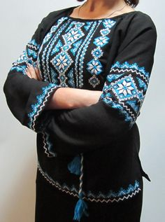 Black embroidered Ukrainian shirt turquoise and white by uaanna, $135.00