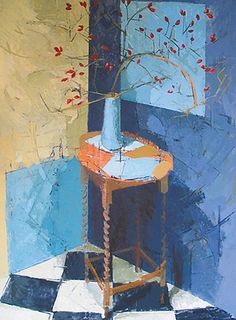 blue corner with rosehips byJill Barthorpe