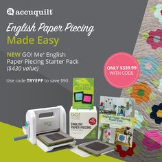 This new starter pack helps new and experienced English Paper Piecers save time cutting. The set comes with a GO! Me® fabric cutter, 10 GO!® dies, cutting mats, a free pattern book and more! Save $90 plus get free shipping through 11/30 with code TRYEPP. [Sponsored by @AccuQuilt] Paper Piecing Patterns, Quilt Patterns, Fabric Cutter, New Starter, English Paper Piecing, Pattern Blocks, Holiday Crafts, Make It Simple, Free Pattern
