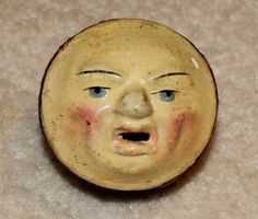 VINTAGE ANTIQUE TWO SIDED MAN IN THE MOON FACE SQUEEK TOY 1800'S. Side 2.