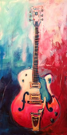 Roy Laws Gretsch White Falcon  24 x 48 Acrylic on Canvas painting of the legendary White Falcon. This particular painting started out as a live painting during a street festival in Franklin TN. Didn't get quite finished with it that day, but I was able to finish it a couple of days later. http://www.roylaws.com/#!Roy-Laws-Gretsch-White-Falcon/zoom/crbp/i613tb