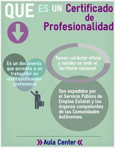 Explicación de que es un certificado de profesionalidad según aula center