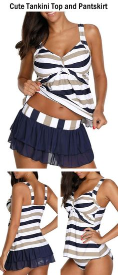 Backless Striped Twist Front Tankini Top and Pantskirt
