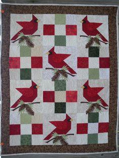 Luanne's 2012 Winter Quilt. Red cardinals