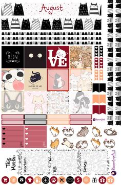 Cats' August Mothly Stickers by AnacarLilian