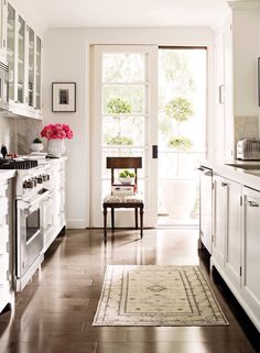 Galley kitchen, vintage persian rug, french door with balcony