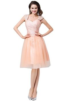 Sunvary Princess Knee Length Homecoming Cocktail Prom Dreses with Cap Sleeves Bridesmaid Evening Gowns- US Size 10- Light Coral Sunvary http://www.amazon.com/dp/B00PRG4TA4/ref=cm_sw_r_pi_dp_QjrYub1587JKT