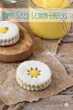 Poppy Seed Lemon Linzer cookies- #linzercookies #lemon