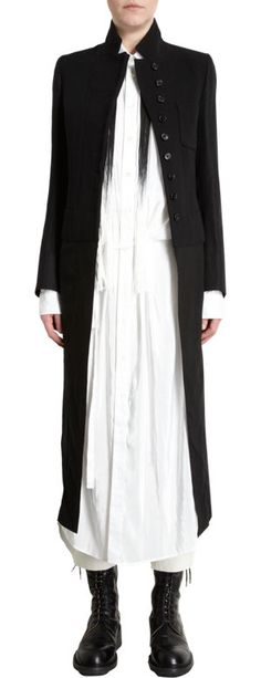 Ann Demeulemeester Stand Up Collar Tie Back Long Coat at Barneys.com
