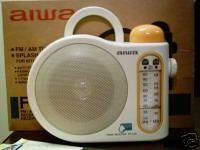 Aiwa FR-C70 Splash Proof Analog AM/FM Hangable Bath and Shower Radio by Aiwa. $149.00. Your morning routine just got a little more entertaining.   Get your hands on this easy-grip FR-C70 AM/FM shower radio and enjoy your favorite stations while you wash.  The splash-resistant surface of the radio and hanging handle make this shower radio perfect for staying up to date on the latest news and weather as you prepare for your day.  A high-quality speaker produces robu...