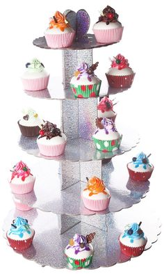 Cake Stand Tiered - Multi Colored 5 Tiered Pastry Cupcake Holder Colorful Stand Tower - 15.50'L x 22.50'H x 15.50'W *** For more information, visit image link.
