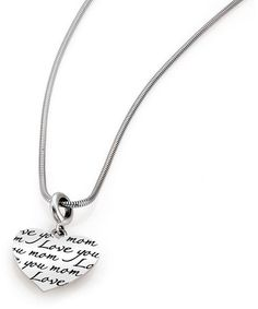 """Zales Persona® Sterling Silver Snake Chain """"Love you mom"""" Charm Necklace with Lobster Claw Clasp - 18.0"""" + 2.0"""""""