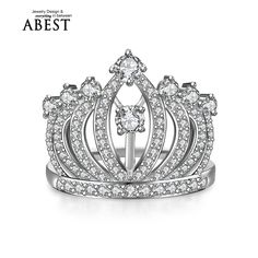 Newest 925 Sterling Silver Princess Crown Rings For Women European Brand Bridal Wedding Engagement Ring Tiara Rings Fine Jewelry