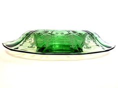 Vintage Fostoria Console Bowl Green Depression Glass Oval