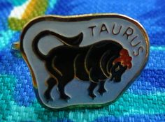 VTG 1970s Retro Groovy MOD Hippie Horoscope TAURUS Gold ZODIAC Sign Ring