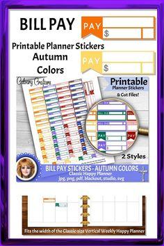 Bill Pay Printable Planner Stickers Autumn Colors #printableplannerstickers #plannerstickers #printablestickers #planner #planning #plannercommunity #planneraddicts #happyplanner #mambi #erincondren #billpay #finances