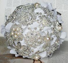 Vintage Bridal Brooch Bouquet  Pearl Rhinestone by LXdesigns, $78.00