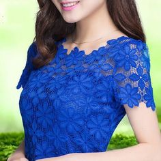 New Lace Blusa Sexy Floral Sheer manga curta Blusas Camiseta Top For Women Clothing 5XL T48903 em Blusas - Feminino de Roupas & acessórios n...