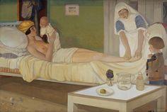 Cecile Walton, Romans adlı tabloda yeni doğum yapmış bir anne olarak oğluna bakmaktadır. Odadaki simgeler fahişeliği temsil ederken, ebe kendisine bakım göstermekte.