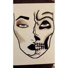 A sexy dark half skull face I made on a makeup chart.