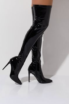 Patent thigh high pointed toe dagger heel boot by AZALEA WANG Thigh High Boots Outfit, Thigh High Heels, Black Thigh High Boots, High Heel Boots, Heeled Boots, Flat Boots, Black Stiletto Heels, Black High Heels, Studded Combat Boots