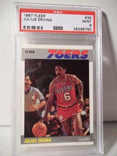 "1987 Fleer Julius Erving PSA Mint 9 Basketball Card #35 NBA Collectible ""DR J"" #Philadelphia76ers"