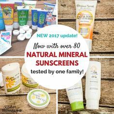 80 natural mineral sunscreens reviewed by one family - find the BEST one(s) that stay on in water and don't make you look white as a ghost. #productreview