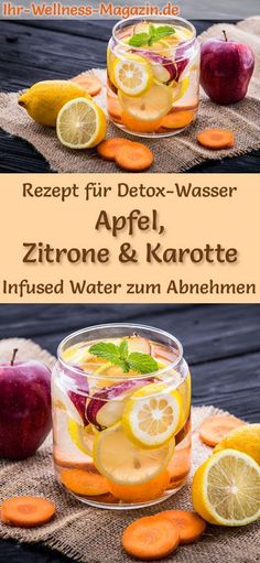 Apfel-Zitronen-Karotten-Wasser – Rezept für Infused Water – Detox-Wasser Detox Water – Recipe for Apple-Lemon-Carrot-Water: Infused Water helps you lose weight, is healthy, has almost no calories, dehydrates, detoxifies and purifies the body healthy Water Recipes, Detox Recipes, Smoothie Recipes, Healthy Eating Tips, Healthy Nutrition, Clean Eating, Infused Water Detox, Digestive Detox, Lemon Diet