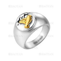 anillo de aves dorado en acero plateado inoxidable para hombre -SSRGG271905