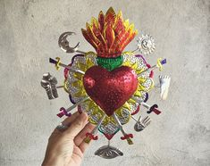 Large Mexican Tin Sacred Heart Milagro Ex Voto Wall Hanging, Mexican Folk Art Southwestern Decor Mexican Crafts, Mexican Folk Art, Folk Art Flowers, Flower Art, Coeur Tattoo, Mexican Art Tattoos, Indian Tattoos, Sacred Heart Tattoos, Arte Cyberpunk